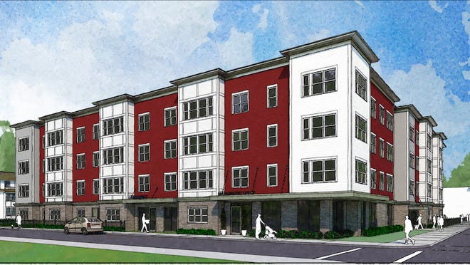 A design possibility for the redevelopment of the Barbara Jordan II apartments in South Providence.