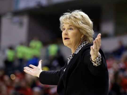 Iowa head coach Lisa Bluder reacts to a call during