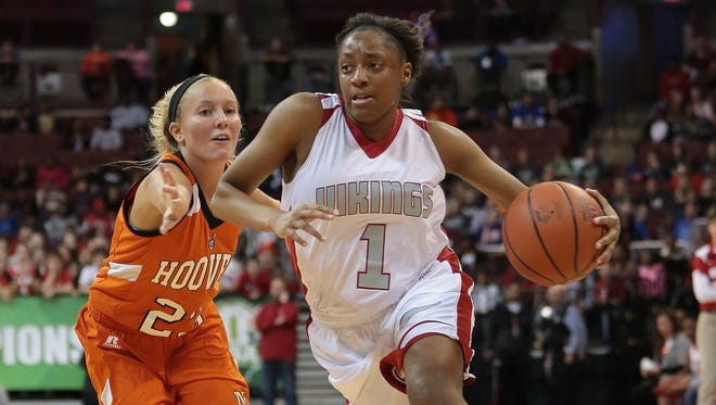 Princeton's Kelsey Mitchell drives to the basket in the state championship game. Mitchell had 30 points as the Vikings went on the with the Division I state title.