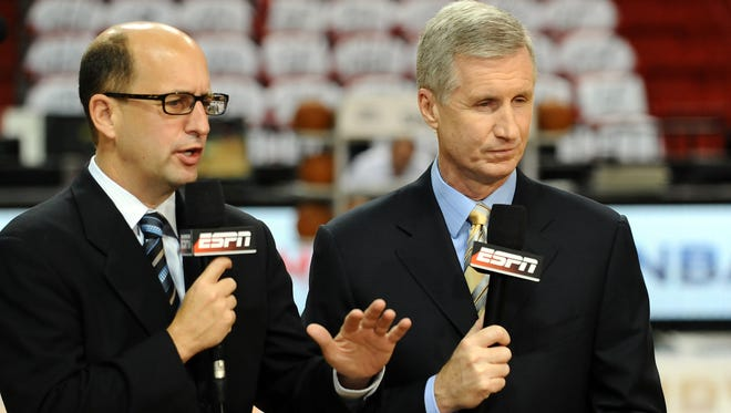 Miami, FL, USA; ESPN analysts Mike Breen (right) and Jeff Van Gundy (left) before game one of the Eastern Conference finals between the Boston Celtics and the Miami Heat of the 2012 NBA playoffs at American Airlines Arena.