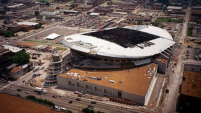 Construction of Bridgestone Arena on May 16, 1996.