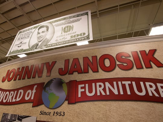 The Johnny Janosik World of Furniture Store in Laurel is shown.