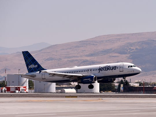 The First Jet Blue flight from Long Beach arrives at