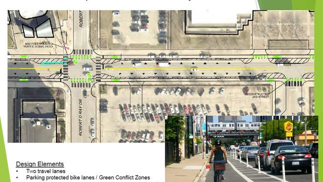 """Des Moines plans to transform a portion of East Grand Avenue from the Des Moines River to Pennsylvania Avenue into a """"complete street,"""" building roads to accommodate bikes, pedestrians and public transit in addition to vehicles. Green indicates a bicycle lane and the dashed sections are proposed barriers between cars and bikes. A small black """"T"""" indicates a car parking space."""
