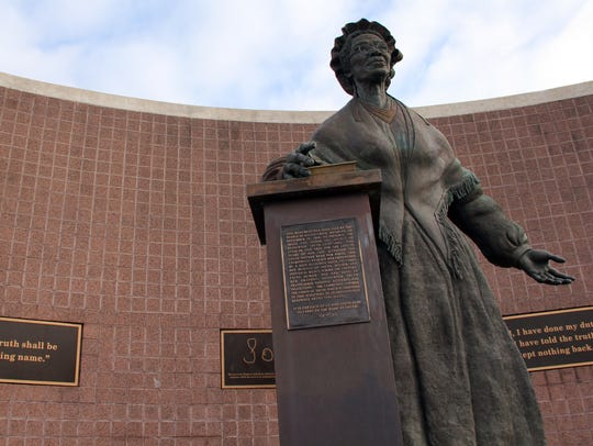 The Sojourner Truth Monument stands in downtown Battle