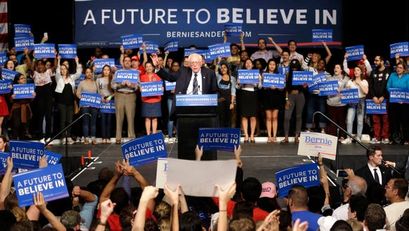 Bernie Sanders speaks during a campaign rally on March
