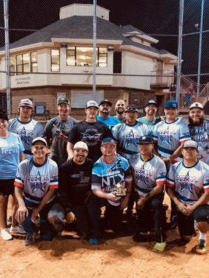 "Patsy's House Softball Tournament was held Saturday, May 5,2018. Front row Blake Berend, Corey Osage, Shane Hanson, Brandon Geuntt, Jack Kelton, second row Jacob Case, Chris Vann, Demetris Maya, Ryan McDonald, Scotty Lewis, Chad Patterson, Back row Mitchell Roberts, Waylon Obermier, Pablo Shaken & Patsy's House Executive Director Denise Roberts.        ""Texas Made"" Men's 4 home runs championship team."