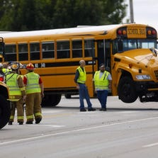 A bus transporting preschoolers to Shirley Mann Elementary was hit by a truck in Union.