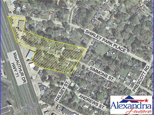 The yellow-shaded portion of this map shows the Simmons Street area under a water boil advisory.