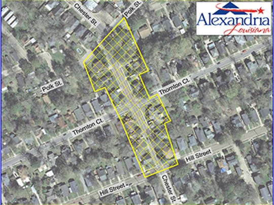 The yellow-shaded portion of the map shows the area affected by a water boil advisory in the Chester Street area of Alexandria.