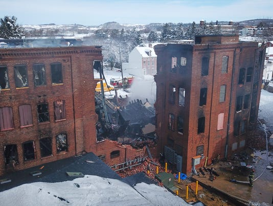 Former Weaver Piano building burns