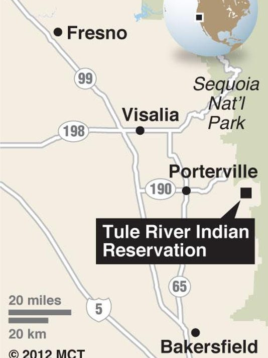 Map locates Tule RIver Indian Reservation, in south central California