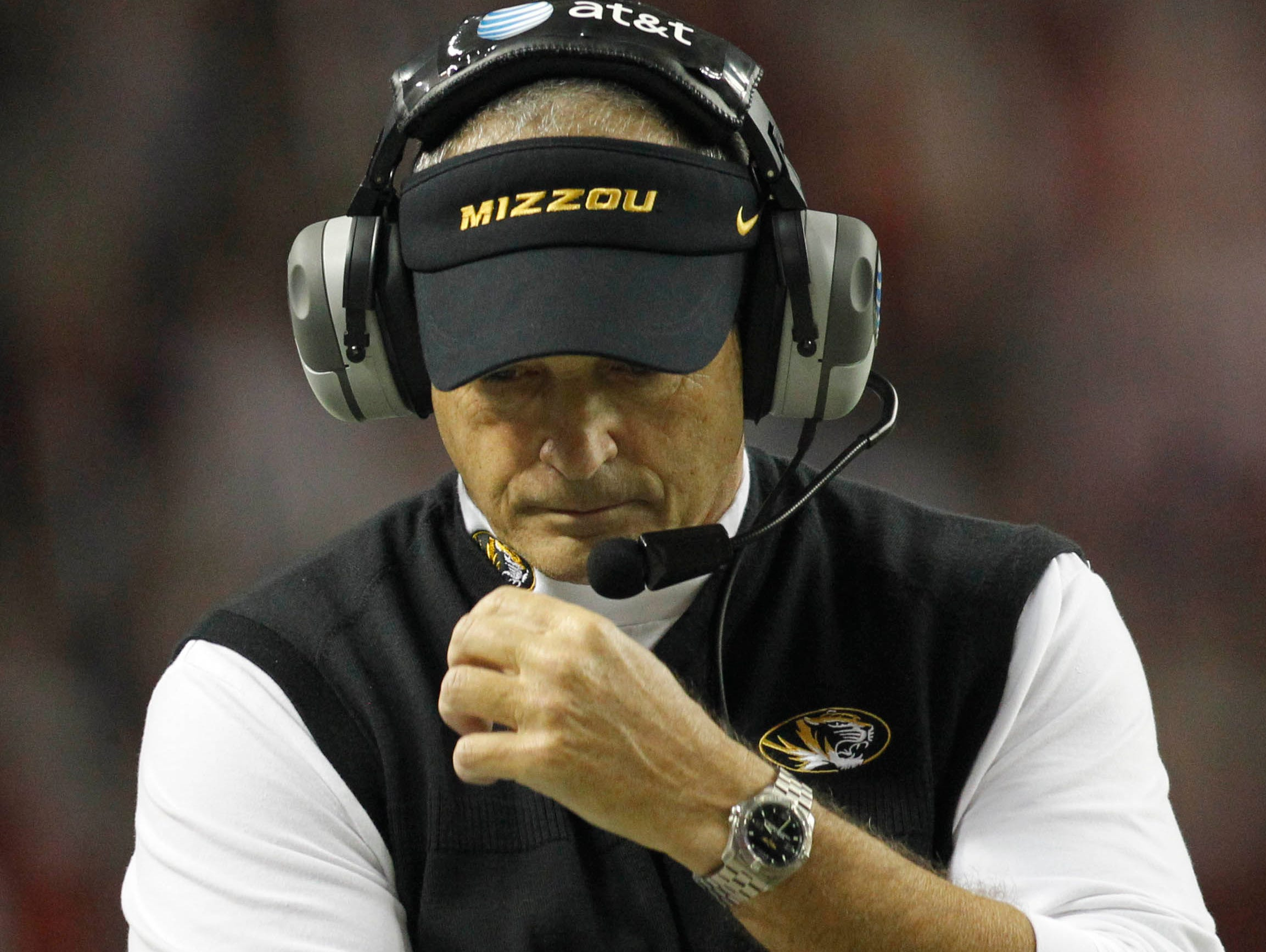 Missouri head coach Gary Pinkel on the sideline against Alabama in the first quarter of the 2014 SEC Championship Game.