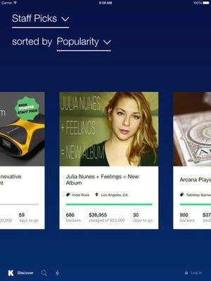 A screenshot of the Kickstarter app for iPad.