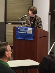 """Marcia Midler shared the achievements of Ruth Bader Ginsberg at a recent meeting held by Brandeis National Committee, Middlesex Chapter, at the East Brunswick Public Library. She said that Justice Ginsberg has been called the """"Thurgood Marshall of the Women's Movement"""" for her success in winning Supreme Court gender equality cases."""
