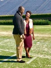 Green Bay Packers rookie defensive lineman Montravius Adams with girlfriend Lateisha Gray while walking Jordan-Hare Stadium in Auburn, Ala.