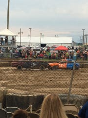 Two of the derby cars crash against one another during the demolition event.
