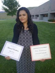 Carla Gabrielle Ballesteros with awards she received at Pine Middle School