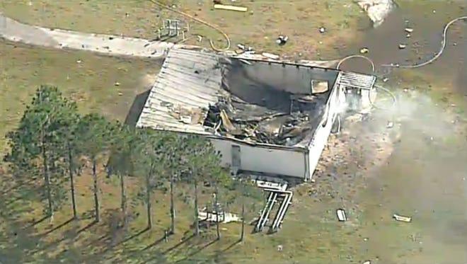 The scene of the plane crash in Lakeland.