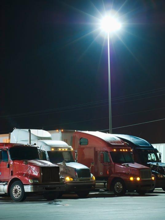 Semi-trucks at night