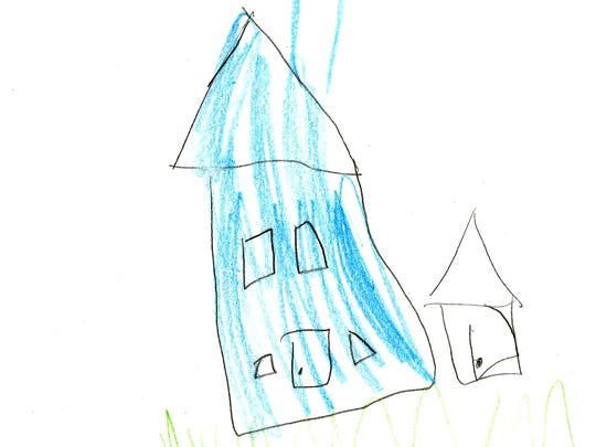 SMART Kids participant Sarah, 7, drew a photo of the blue house she lives in with her family and the family of another SMART Kids participant.