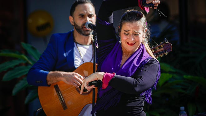 Members of a flamenco group perform during the Coconut Carnival, a celebration of Palm Beach history at The Royal Poinciana Plaza on Saturday.