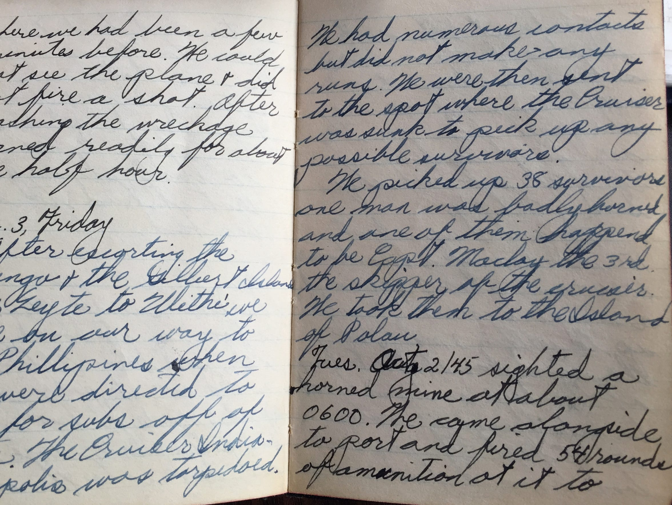 U.S.S. Ringness sailor's journal entry on Aug. 3, 1945,