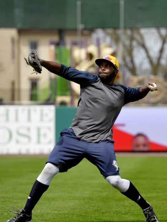 Johan Limonta tosses a ball during York Revolution fielding practice on April 15 at Santander Stadium. A former player for the Cuba National Series' Industriales, Limonta was released by the Revs on Tuesday.