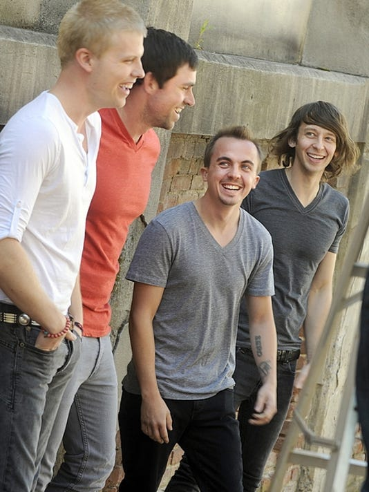 "Former ""Malcolm in the Middle"" star Frankie Muniz, third from left, joined the band Kingsfoil as their new drummer."