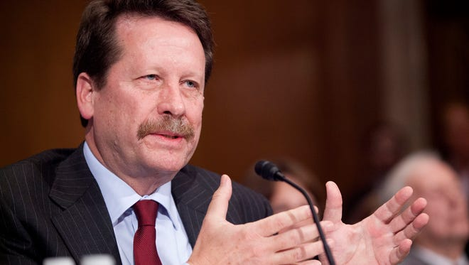 Dr. Robert Califf, President Barack Obama's nominee to lead the Food and Drug Administration (FDA), testifies on Capitol Hill in Washington, Tuesday, Nov. 17, 2015, before the Senate Health, Education, Labor and Pensions Committee hearing on his nomination.