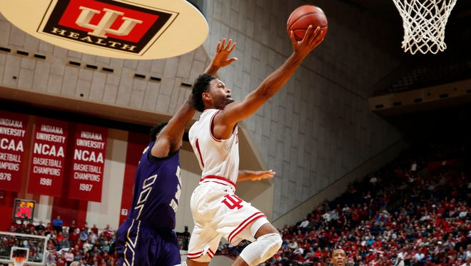 Indiana Hoosiers guard James Blackmon Jr. (1) takes a shot against the Alcorn State Braves at Assembly Hall.