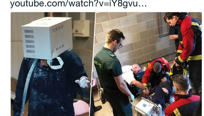 Five firefighters had to rescue a YouTube prankster after he voluntarily cemented his head in a microwave.