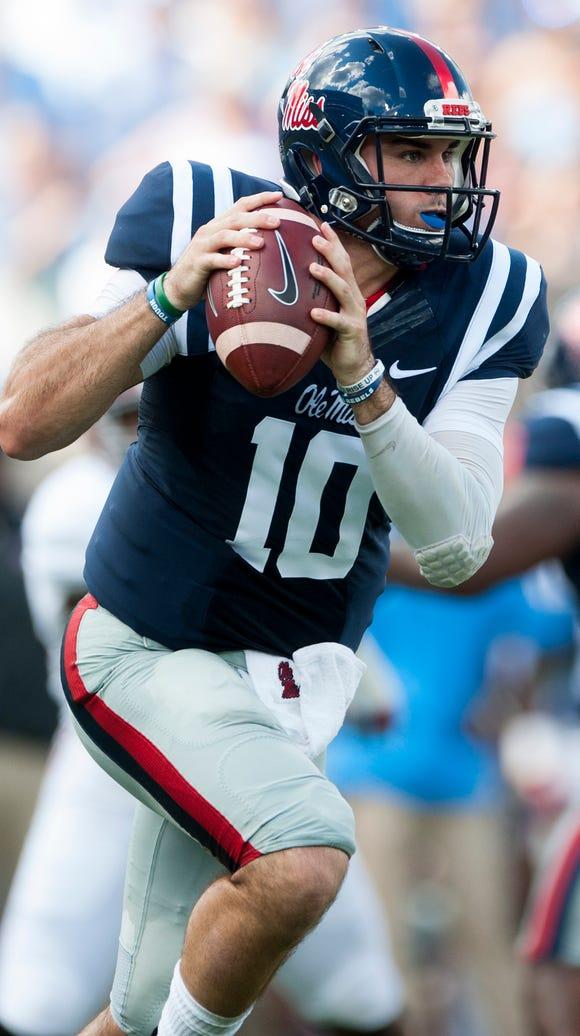 Ole Miss quarterback Chad Kelly (10) against Alabama
