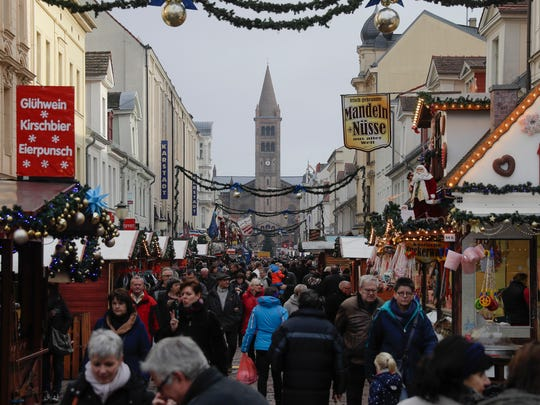 A Christmas market is crowded a day after a suspicious