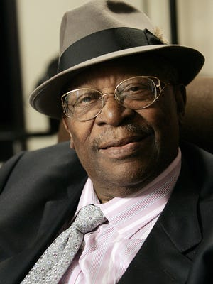 In this photo taken on Aug. 27, 2008, Blues legend B.B. King pauses during an interview in Los Angeles. King, whose scorching guitar licks and heartfelt vocals made him the idol of generations of musicians and fans while earning him the nickname King of the Blues, died late Thursday, May 14, 2015, at home in Las Vegas. He as 89.