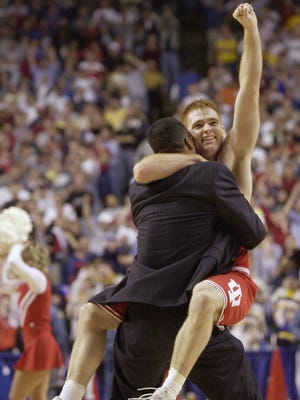 In 2002, IU coach Mike Davis and player Tom Coverdale celebrated an NCAA tournament victory over Duke. Indiana made it to the title game but was defeated by Maryland 64-52.