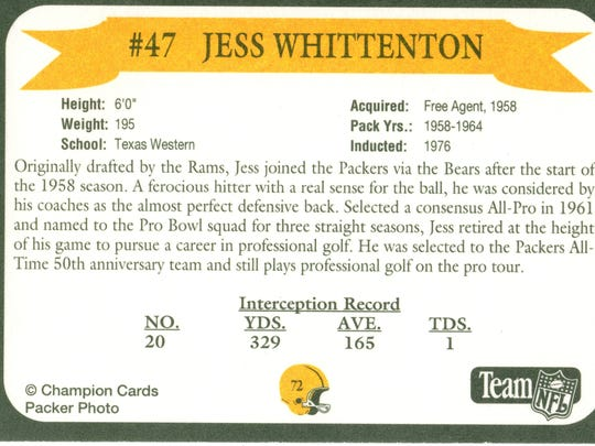 Packers Hall of Fame player Jess Whittenton