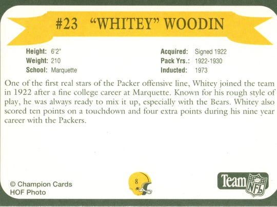 Packers Hall of Fame player Whitey Woodin