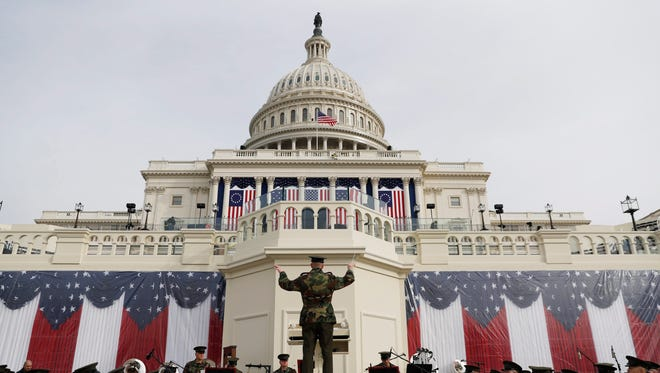The Marine Corps Band play beneath the US Capitol during a rehearsal a day before Donald J. Trump is sworn in as the 45th President of the United States in Washington, DC, USA, 19 January 2017.