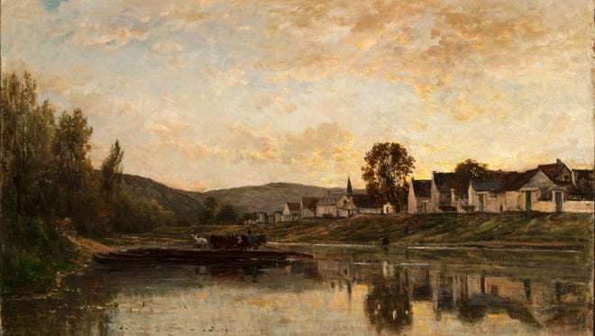 "Charles-François Daubigny, ""A River Scene: The Ferryboat at Bonnières,"" 1861, oil on canvas. Taft Museum of Art."