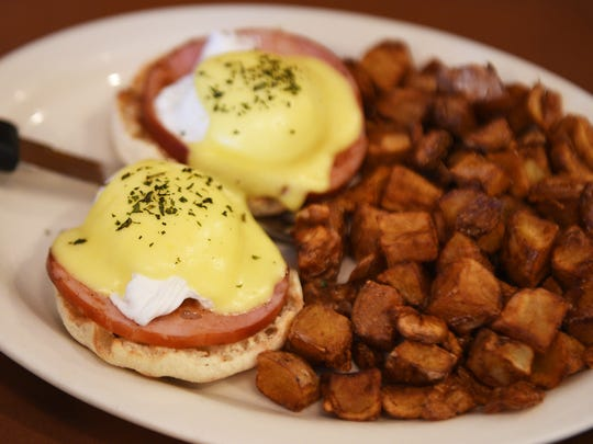 The Record's food editor Esther Davidowitz and chef Ariane Duarte go on a food crawl through Montclair, NJ on Thursday November 09, 2017. Classic eggs benedict at TOAST.