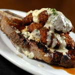 3-7-12, 1b  Carpetbag, 14 oz. ribeye with fried oysters and a blue cheese cream sauce prepared by Jackson's Steakhouse Chef Irv Miller.