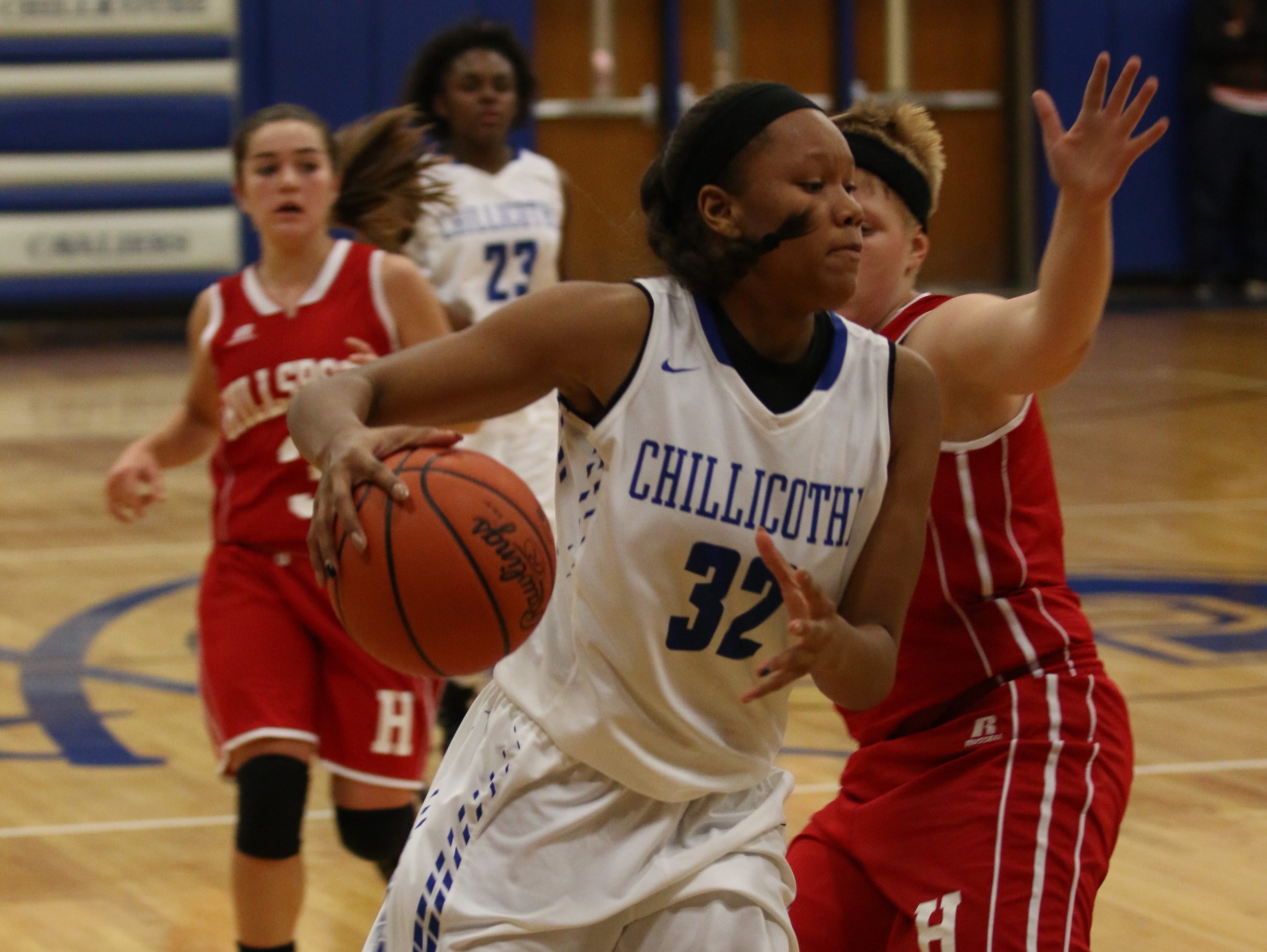 Chillicothe's Osh Brown drives to the basket against Hillsboro earlier this week. In two games, Brown is averaging 19 points and 15 rebounds per contest.