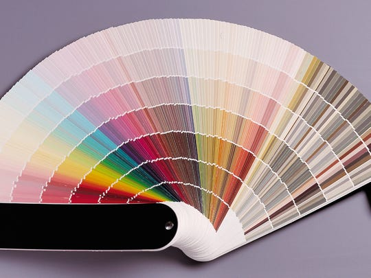 A fan deck of paint colors helps consumers decide what color paint to buy.