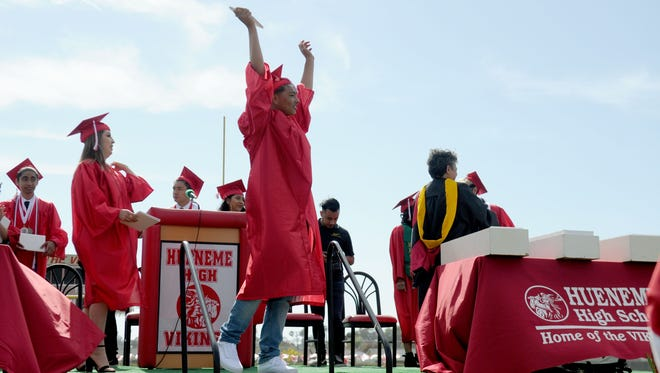 Hueneme High School students celebrated graduation in June. New data from the California Department of Education reveals Ventura County has a higher graduation rate than the state.
