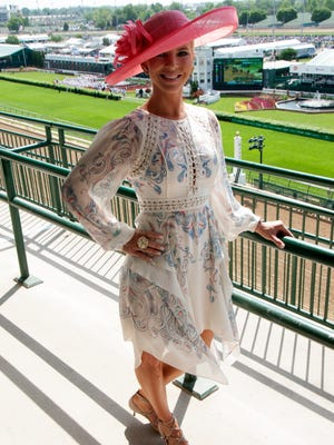 Nicole Cox of Hingham, Massachusetts, on Millionaire's Row at Kentucky Derby 2016