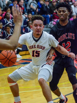 York High's Trey Shifflett (15) is one of several York-Adams League seniors capping their high school basketball careers by playing in all-star games on April 8 and 9 at Harrisburg Christian.