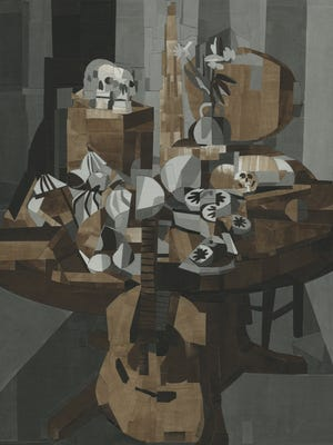 "Rob Matthews, ""Still Life with Guitar,"" gouache and ink on paper on canvas on wood, 72 x 60 inches, 2015."