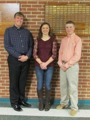 Roll call winners are pictured, from left: Jacob Werner, Haley Sweitzer, and Daniel Rohrbaugh.