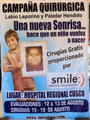 A poster announcing a Smile Network International humanitarian mission to Cusco, Peru.